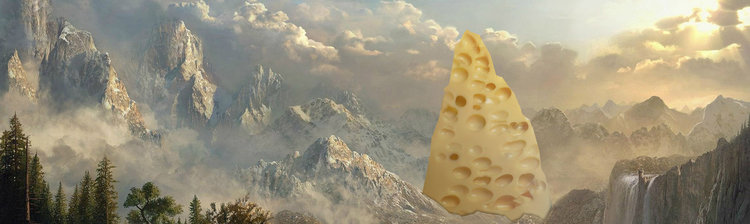 This is just a conceptual image of a cheese mountain, Holy Cheese mountain includes many many wonderful cheeses. Prepare for a cheese-feast!