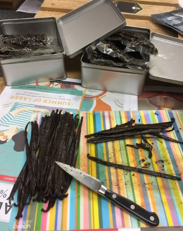 My slicing and scraping of high grade Madagascan vanilla beans