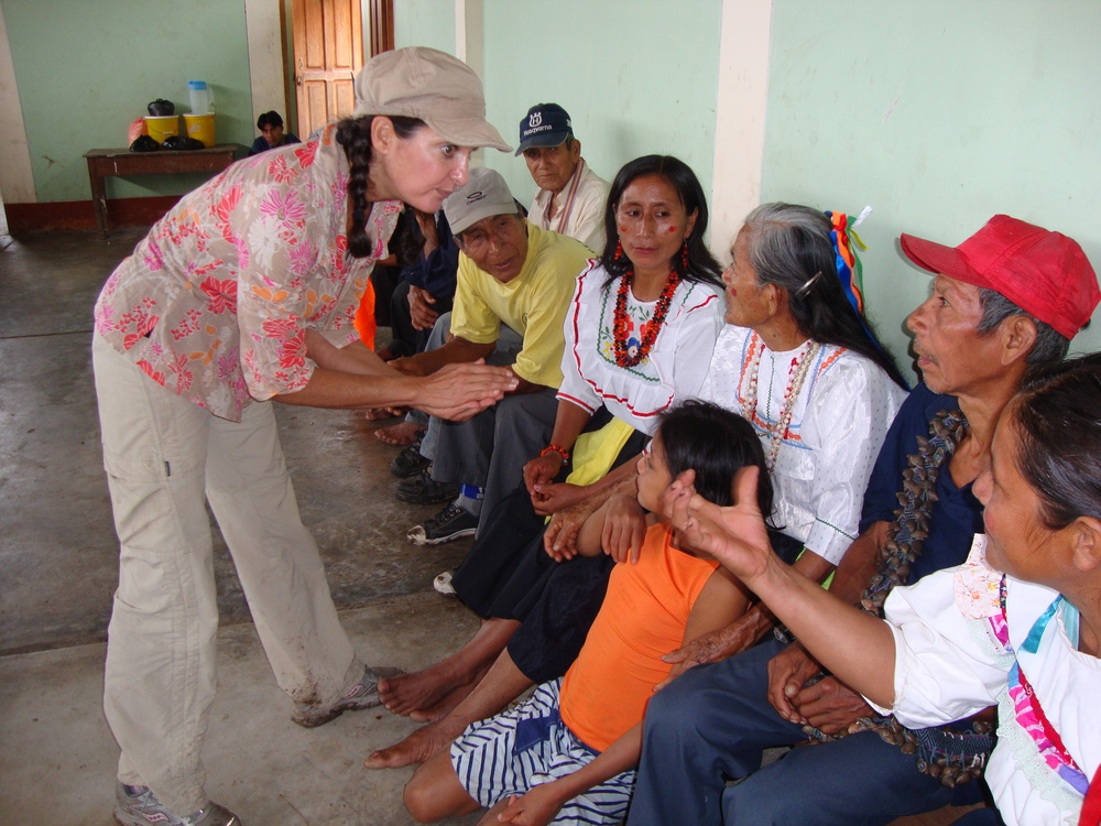 Erika teaching about Maya in Peru.