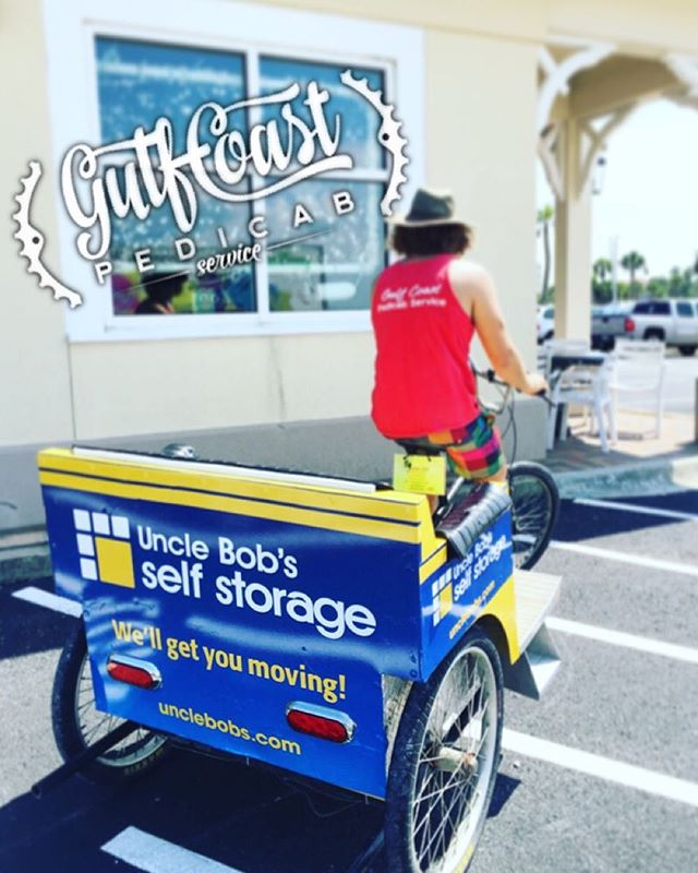 Snag a ride on a #unclebobsstorage pedicab tonight! We love our sponsors, and representing amazing brands. ⭐️ Promote your company via interactive marketing: 850-291-9467 #advertise #marketing #pensacola #upsideofflorida #floridamarketing #pedicabpower