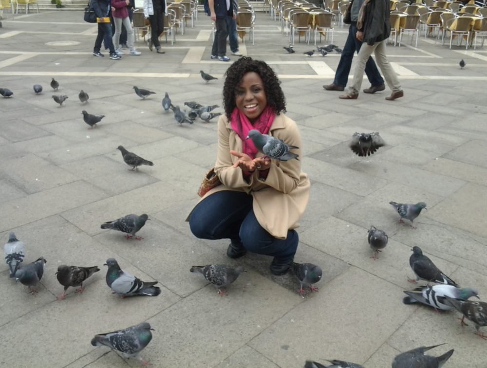 A moment with the pigeons in Venice, Italy.