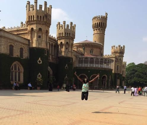 Signature jump, outside the Bangalore Palace!