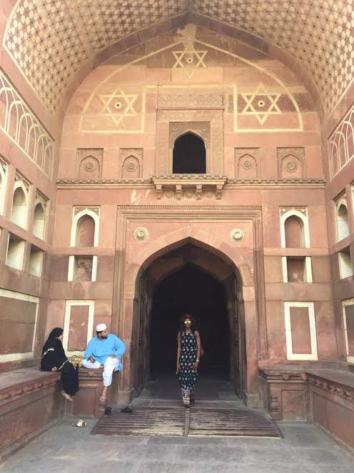 At the entrance to the Jahangir Palace within the The Agra Fort. It has Buddhist, Christian, Muslim & Hindu religious symbols. The ruler who lived in the fort built the Taj for his wife. Also a UNESCO heritage site!