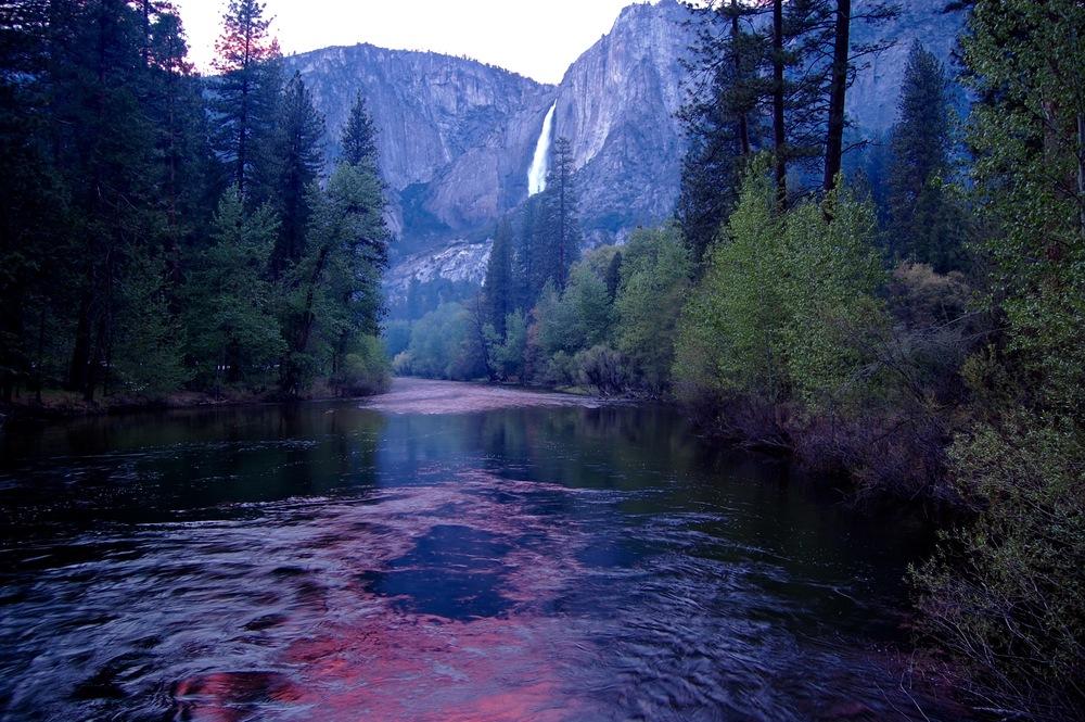 Yosemite National Park, Yosemite Falls at sunset