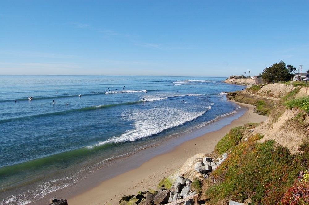 The Pleasure Point coastline along East Cliff Drive.