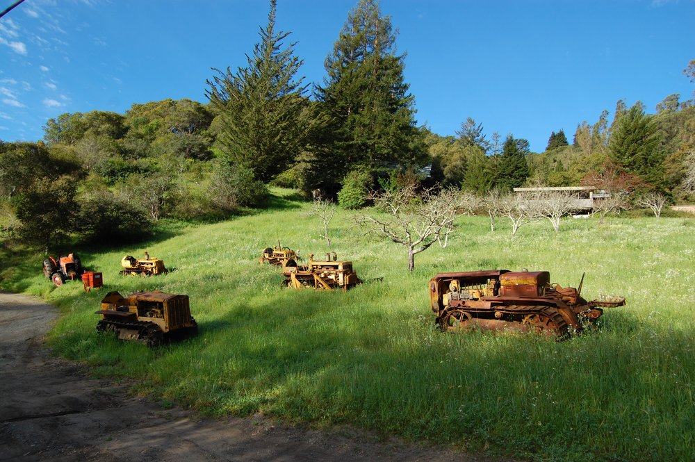 A tractor scene along North Rodeo Gulch Road, cutting over from Highway 17 to Santa Cruz/Highway 1.