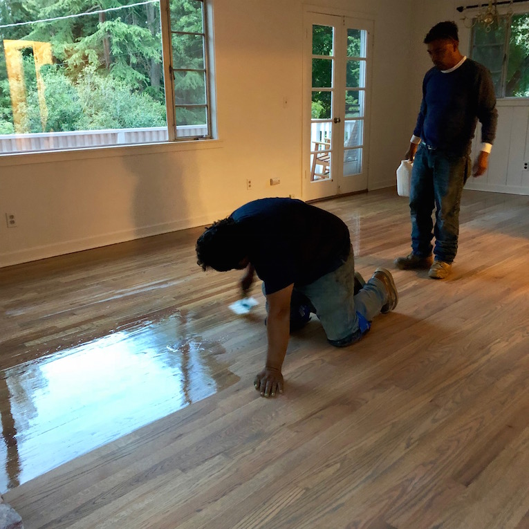 Step 4: Finish - Clear finish is applied to protect the floors.