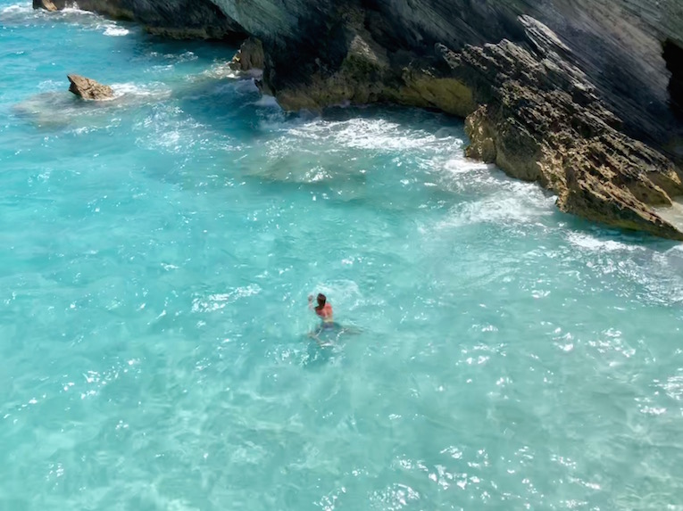 My photograph taken from the top of the cliff jumping rock. Worth the second climb up the rock!