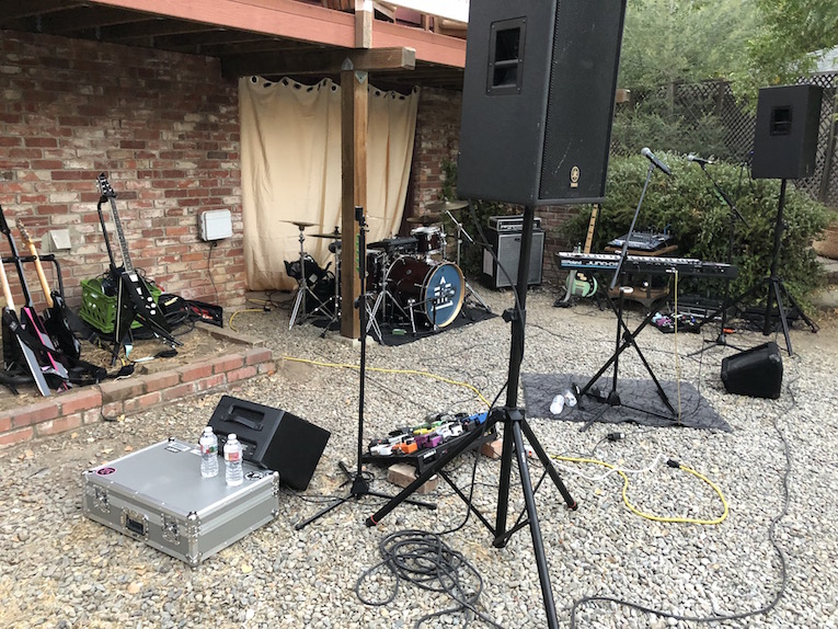 The stage. The band arrived nice and early to get their equipment set up.