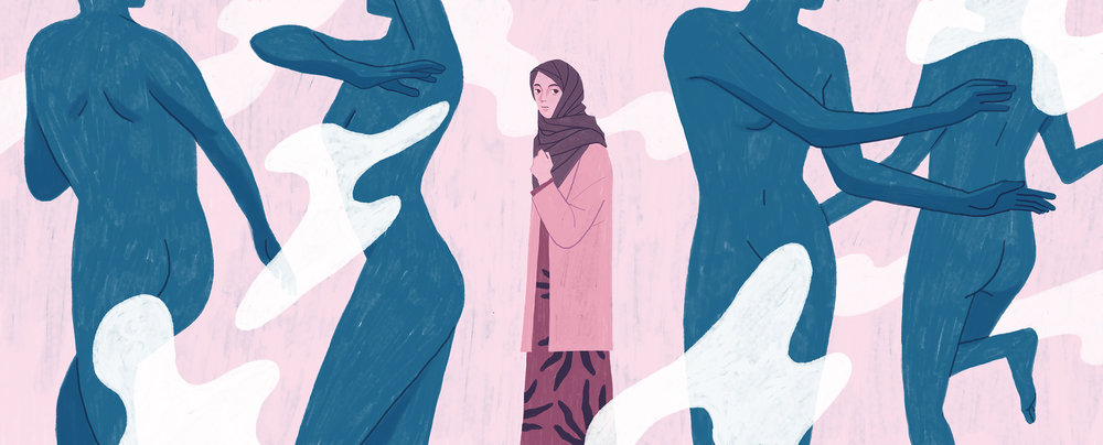 An illustration for Narratively - How I Used My Hijab to Hide — And Why I Don't Anymore