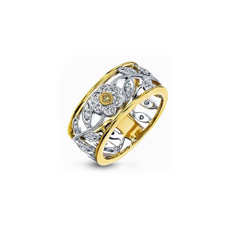 Simon G White And Yellow Gold Vintage Floral Diamond Ring