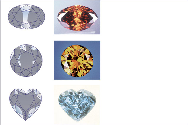 Diamond graders look for the strongest areas of characteristic color when grading. These are represented by the darker shaded areas in the illustrations for each Fancy color diamond.