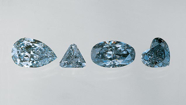 Fancy color diamonds are often cut into fancy shapes.