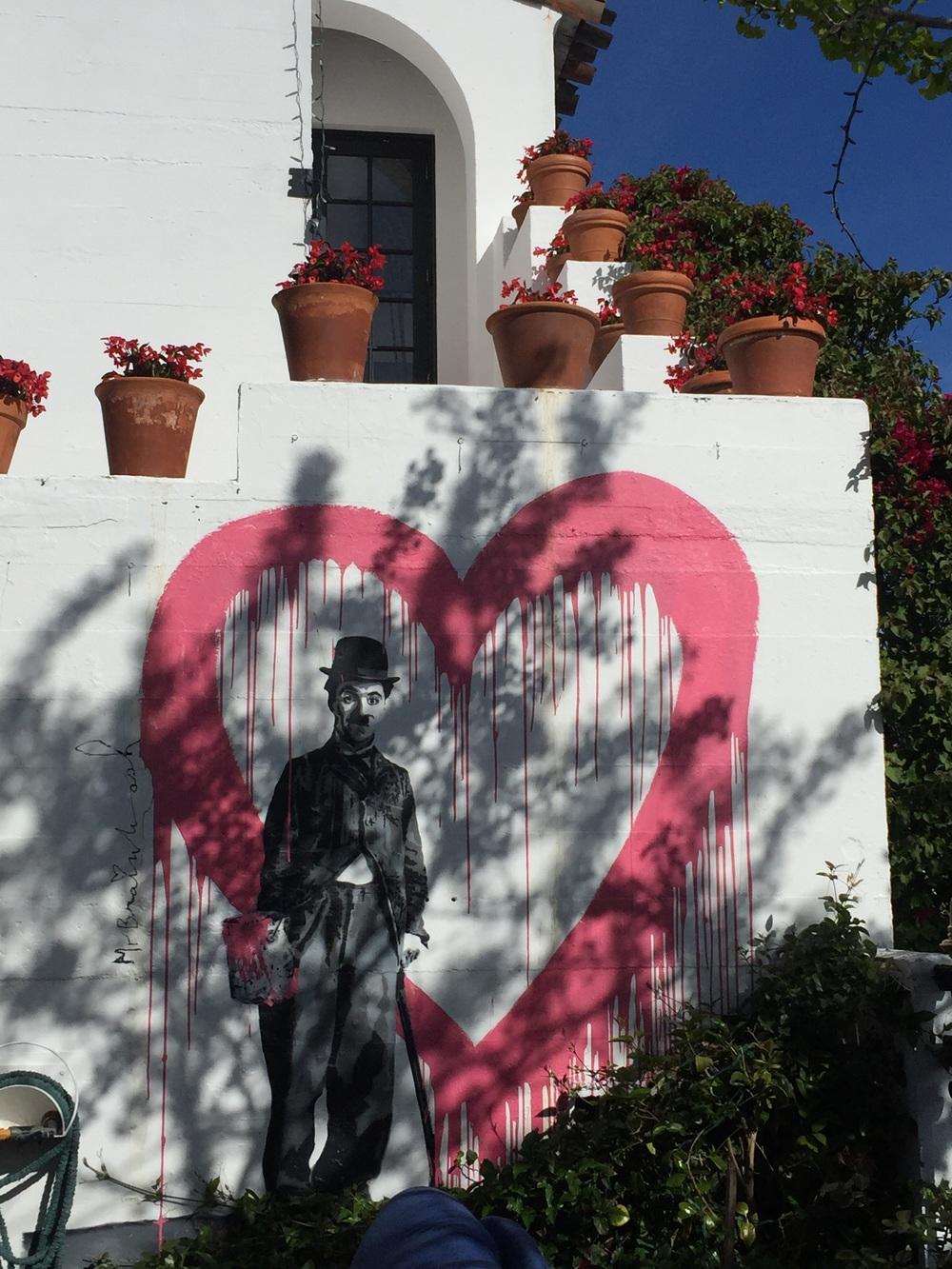 Mr. Brainwash Charlie Chapman mural at the Cypress Inn, Carmel
