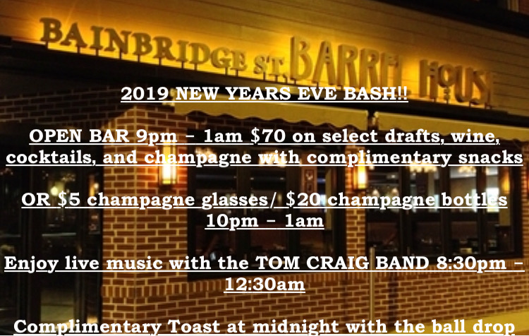 You wanna bash? Get to the Barrel House Bash! This New Years' Eve you can enjoy an open bar at your favorite place in town! Plus live music! The only thing that could make it any better would be to get laid, and who knows. We won't tell.   Click the link to buy tickets for the open bar.
