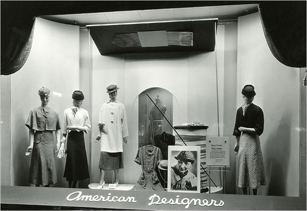 A 1933 window display devoted to American designers at Lord & Taylor in Manhattan.