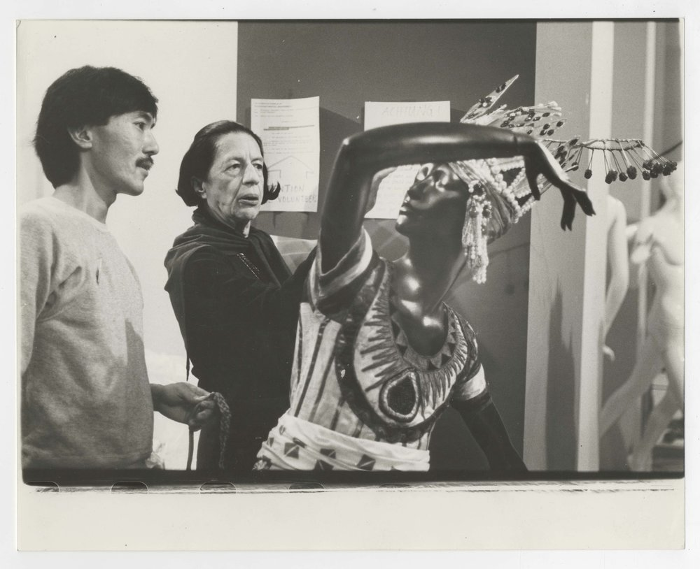 "Harold Koda and Diana Vreeland during the preparation of the exhibition  ""Diaghilev: Costumes and Designs of the Ballet Russes,"" at the Metropolitan Museum of Art in 1978."