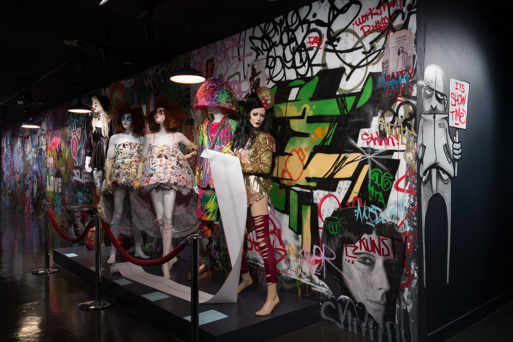 "Entry gallery installation view of the exhibition ""Fashion Underground: The World of Susanne Bartsch"". Photograph courtesy The Museum at FIT"