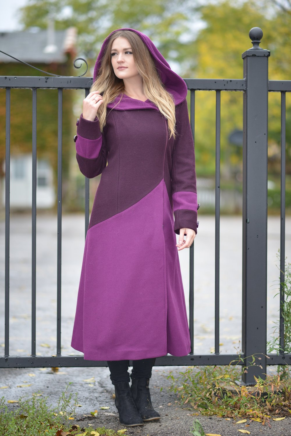Purple Hooded Coat