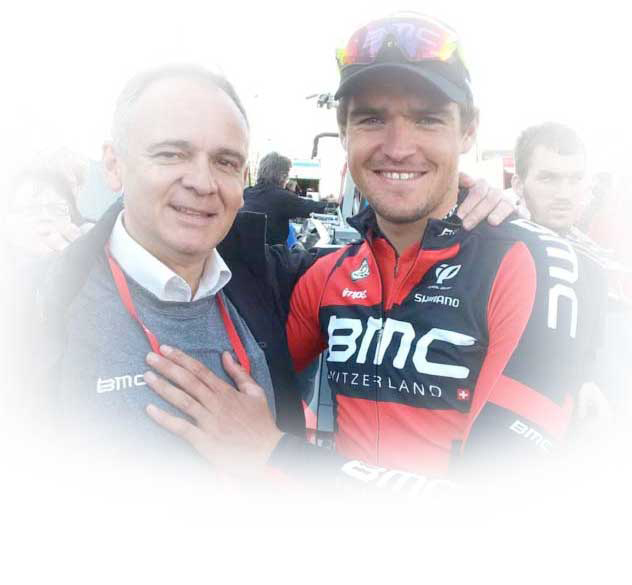 Max with Greg Van Avermaet at a grand tour