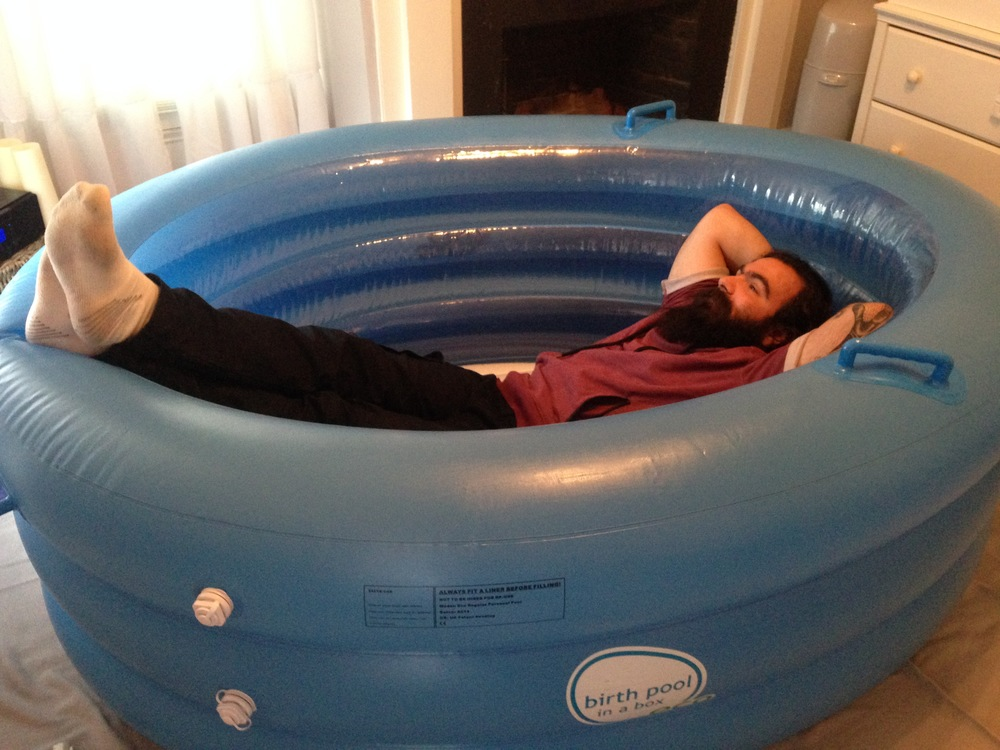 Josh testing out birth pool for me =)