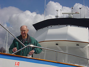 Peter Harris aboard his Grand Banks.