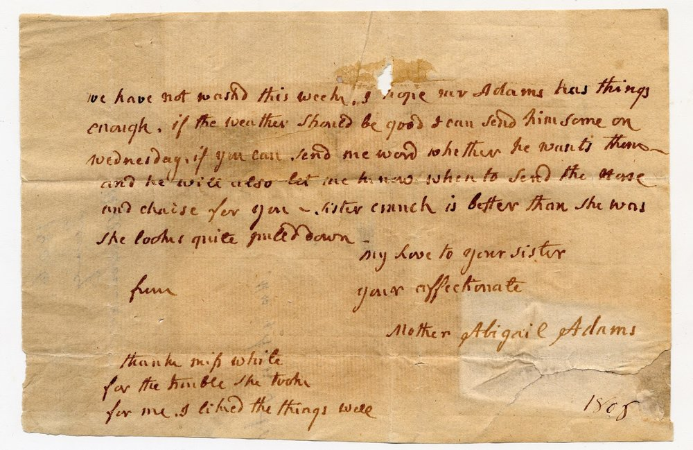 Abigail Adams letter, MS0119/DC921.1806