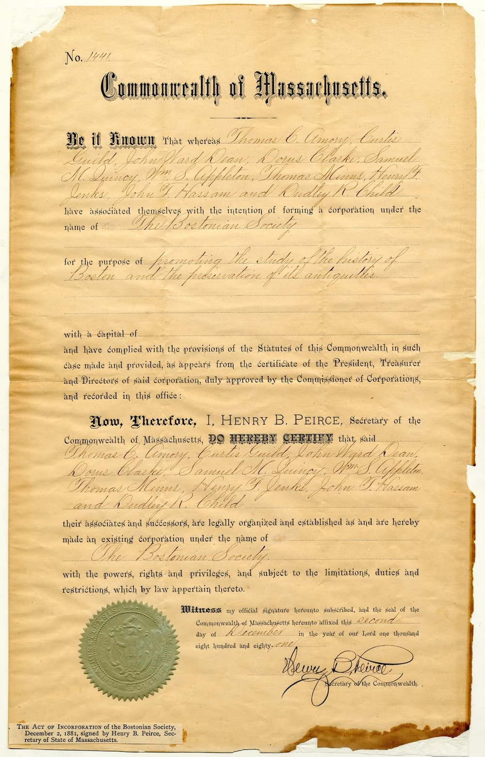 Bostonian Society Charter, 1881