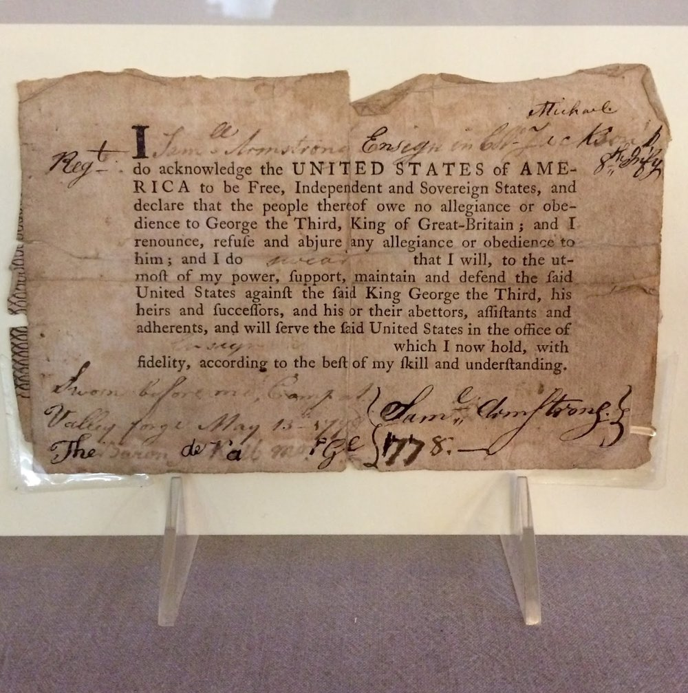 An Oath of Allegiance from 1778currently on display in our library