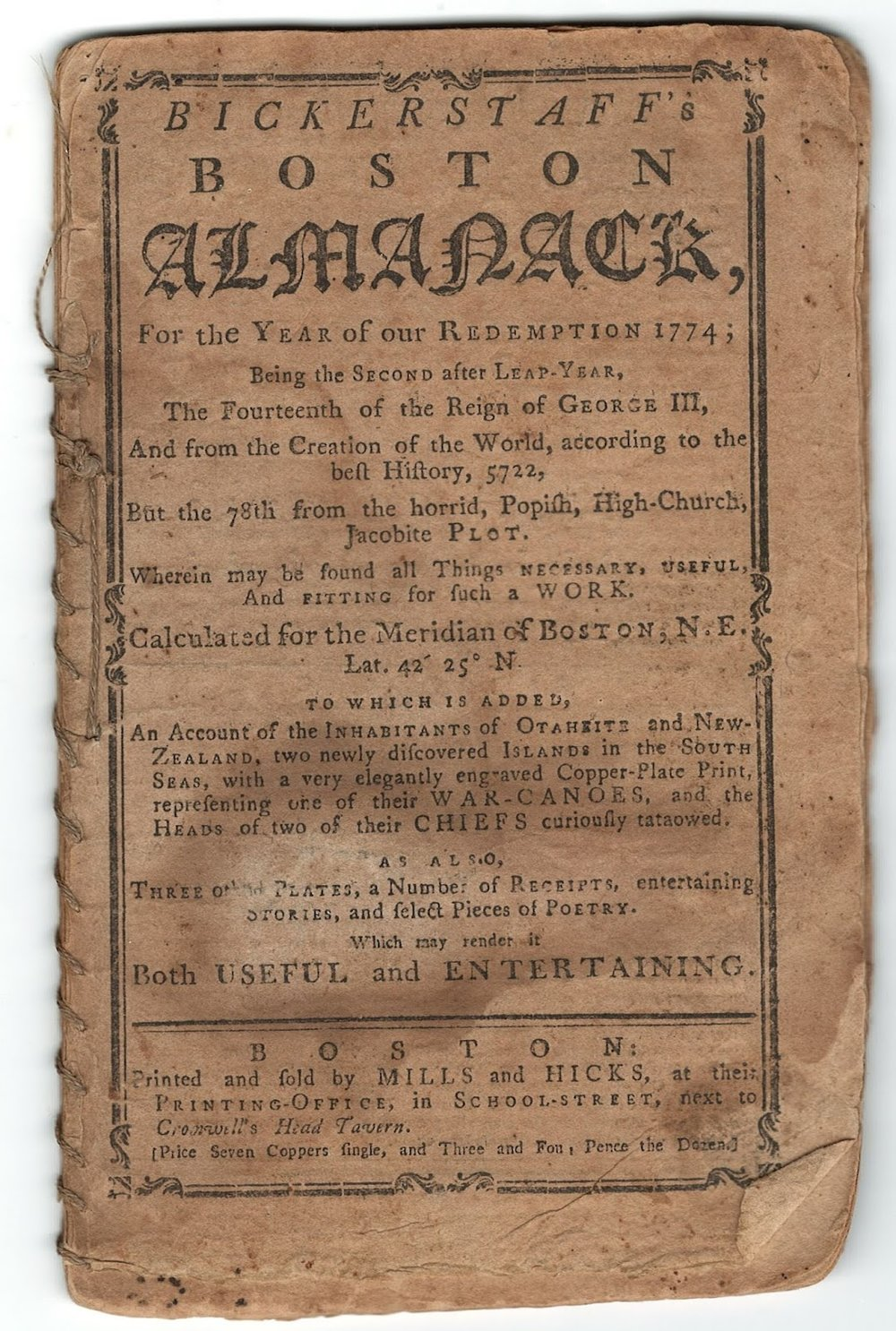 Bickerstaff's Boston Almanack, 1774 AY 201 .B7 B52