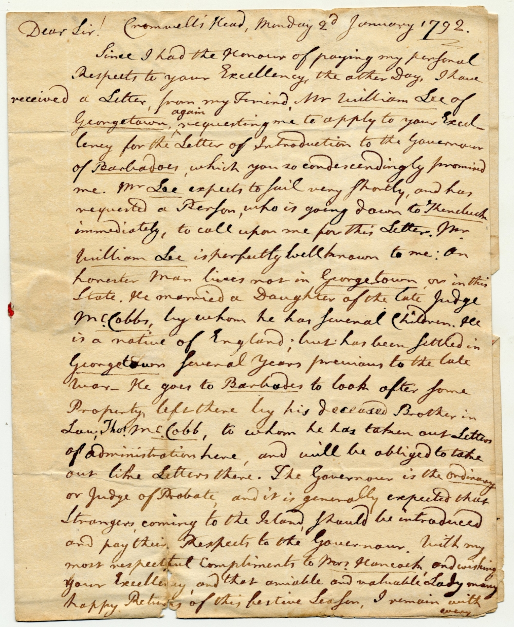Letter from John Gardiner to Gov. John Hancock, 1792 (MS0119/DC921.1792)
