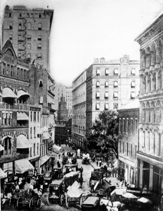 The Old State House surrounded by 19th century buildings, circa 1890 (VW0001/001107)