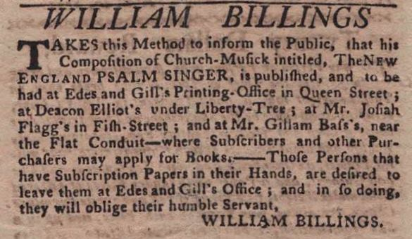 William Billings advertisement in the Boston Gazette and Country Journal, April 29, 1771 (Newspaper Collection)