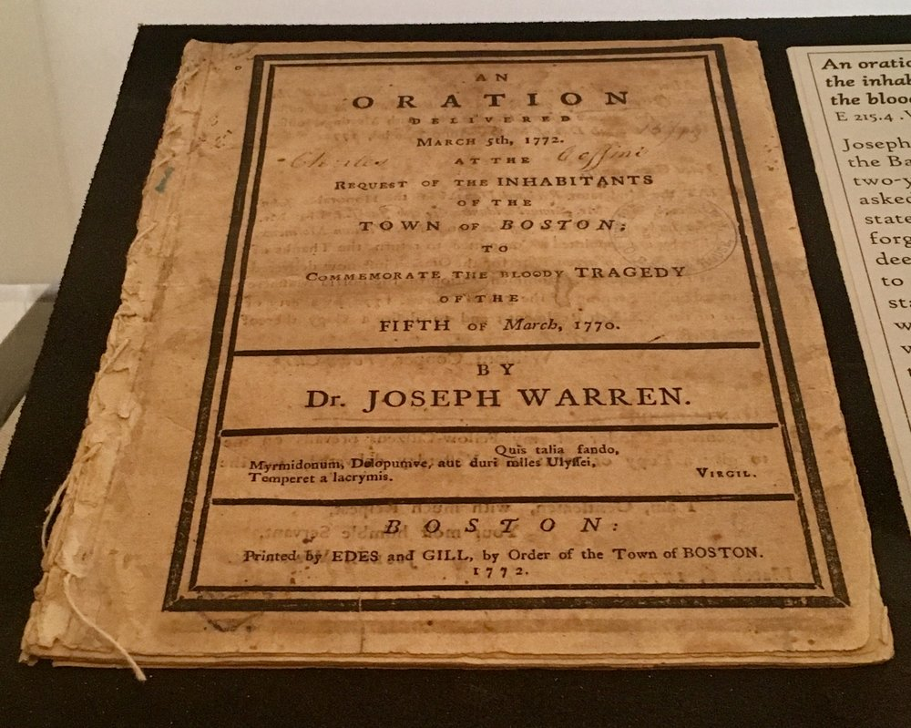Joseph Warren's sermon on display (E 215.4 .W28)