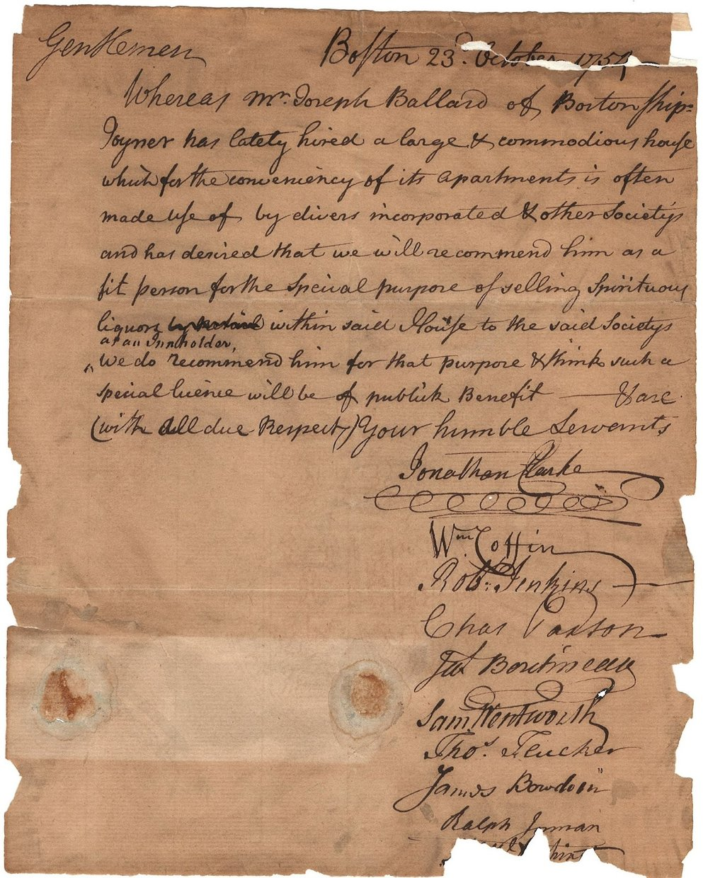 Petition from Joseph Ballard for a liquorlicense, 1754 (MS0119/DC1137)