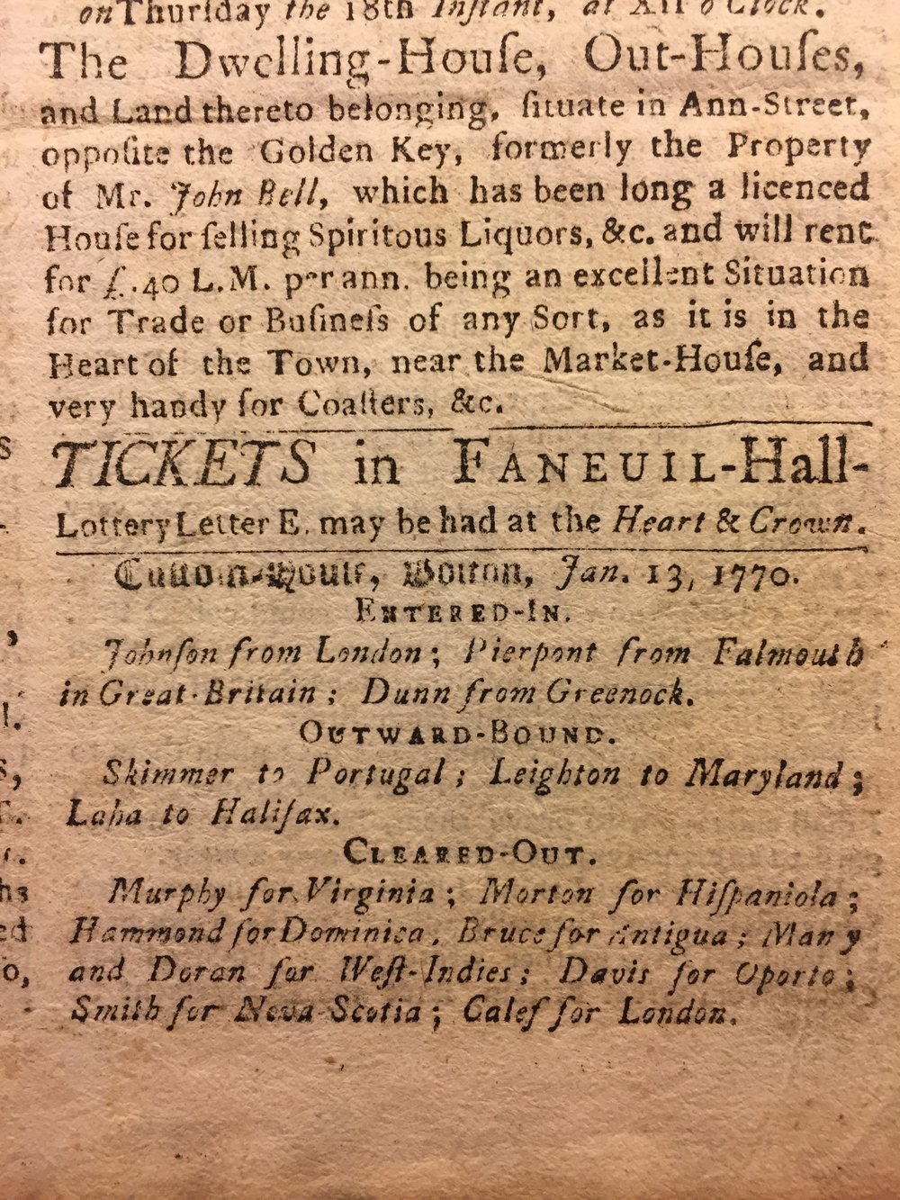 Faneuil Hall lottery advertisement printed in the Boston Evening Post, January 15, 1770