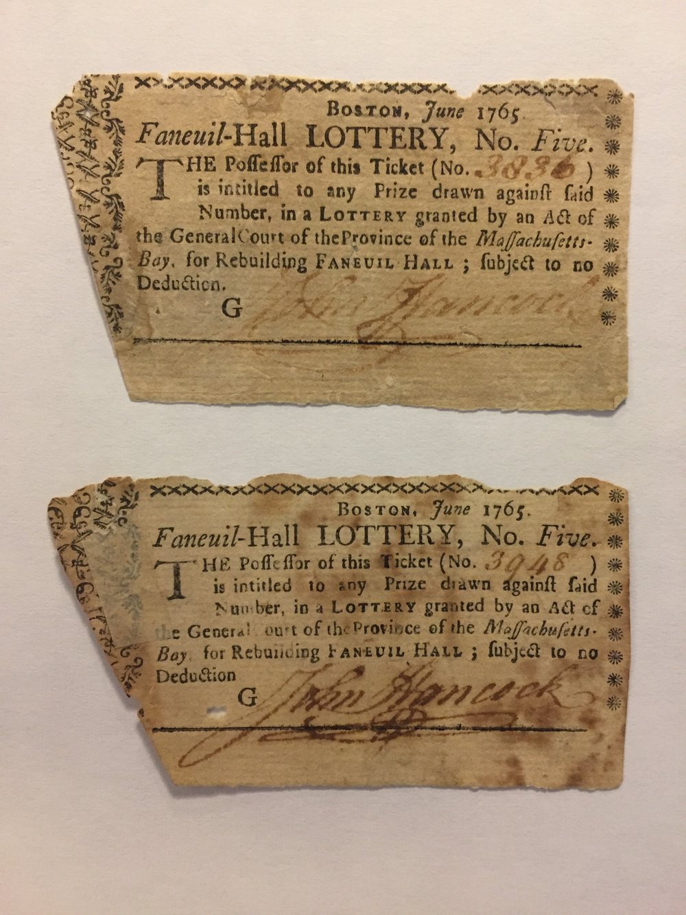 Faneuil Hall Lottery tickets circa June 1765. MS0119/DC1129