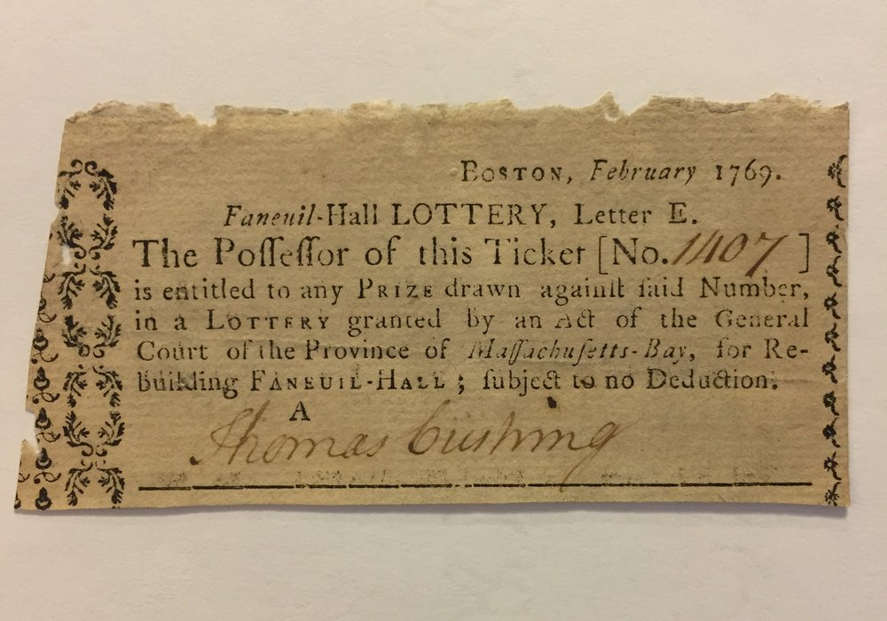 Faneuil Hall Lottery ticket circa 1769. MS0119/DC1132
