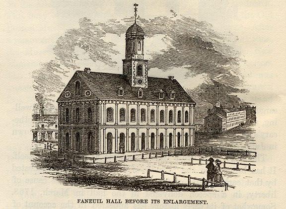 Etching of Faneuil Hall before its enlargement in 1805, artist unknown. VW001/000107