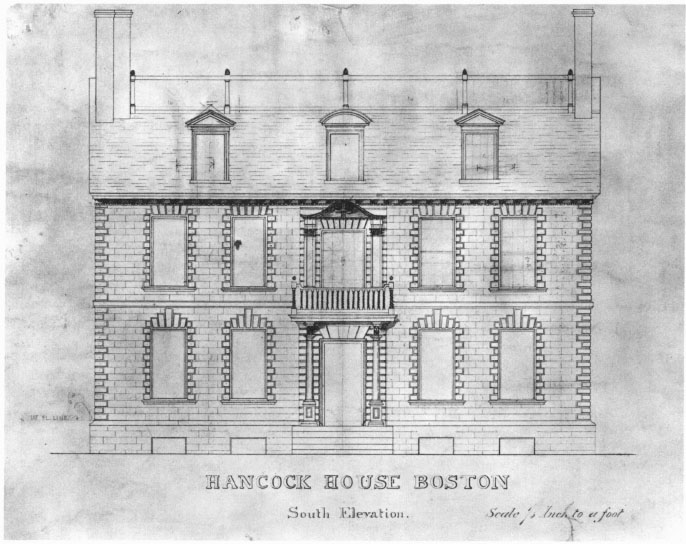 J.H. Stugis' 1863 Measured Drawing of the South Elevation of the Hancock House