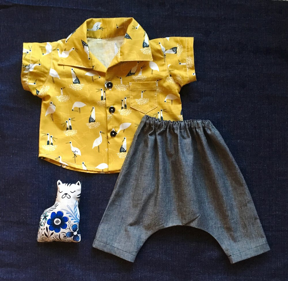Shirt: McCalls pattern, Stork family print in Mustard, Wiksten Harem pant in soft denim-look chambray.