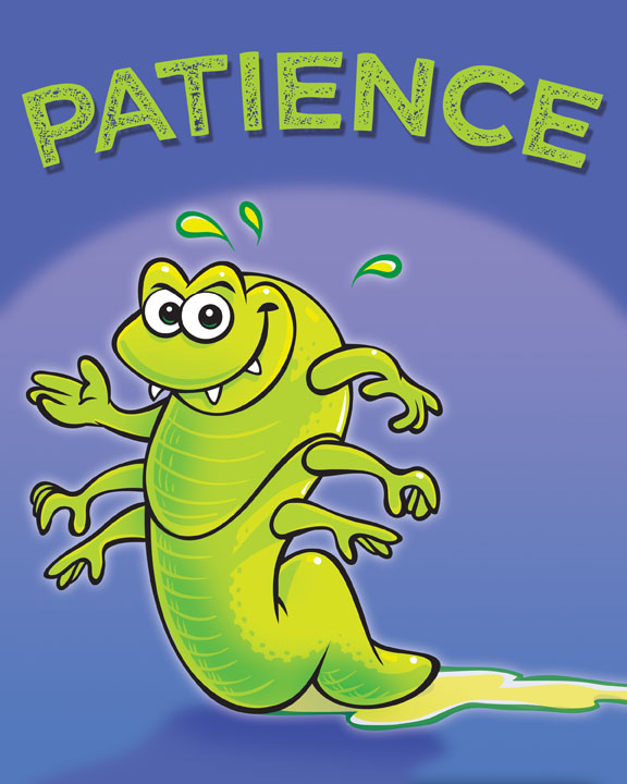 Meet Booger Bug!  He demonstrates PATIENCE with his concentrated strength. He teaches his friends that a Godly patient heart can endure through ALL things when you put your eyes on Him.