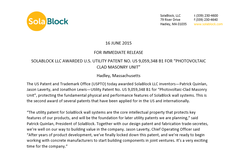 Utility Patent Press Release