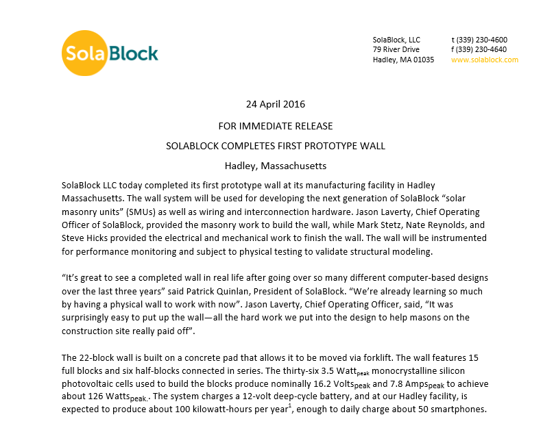 Prototype Wall Press Release
