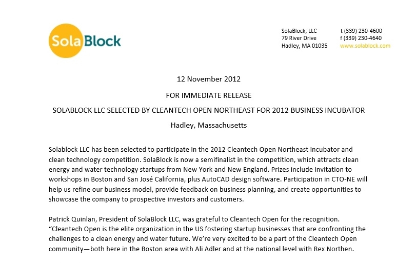 Cleantech Press Release
