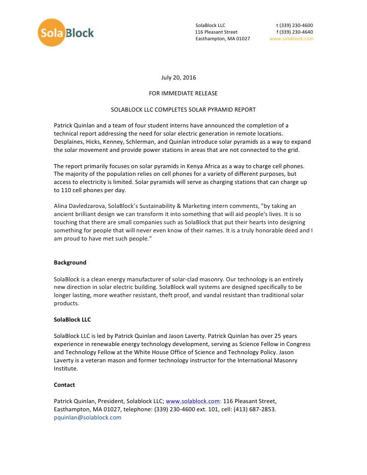 Solar Pyramid Press Release