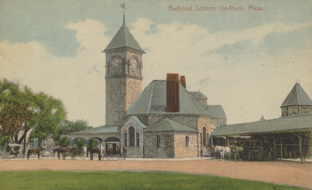 Did you know Dedham Square's Keystone Lot used to look like this?  In 1882, Boston Providence Railroad hired Sturgis & Brigham of Boston to design the new depot for Dedham Center. It was an elegant structure built of Dedham granite. In 1898 as many as 60 trains a day where stopping in Dedham. The station was abandoned in 1933 and torn down in 1951.