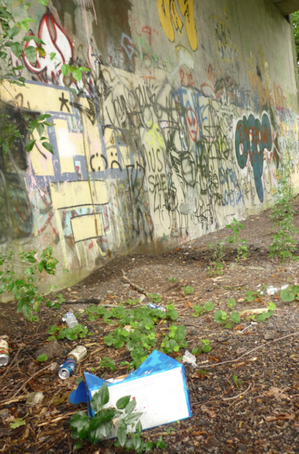 Trash and graffiti at the current abandoned rail corridor.