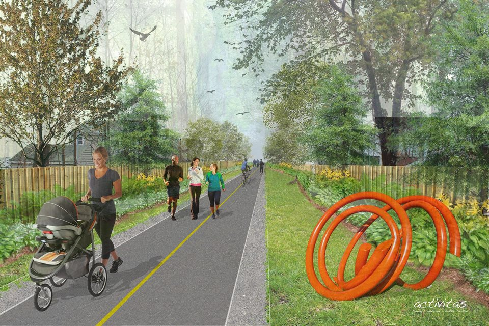 Rendering of what Dedham's proposed rail trail could look like.