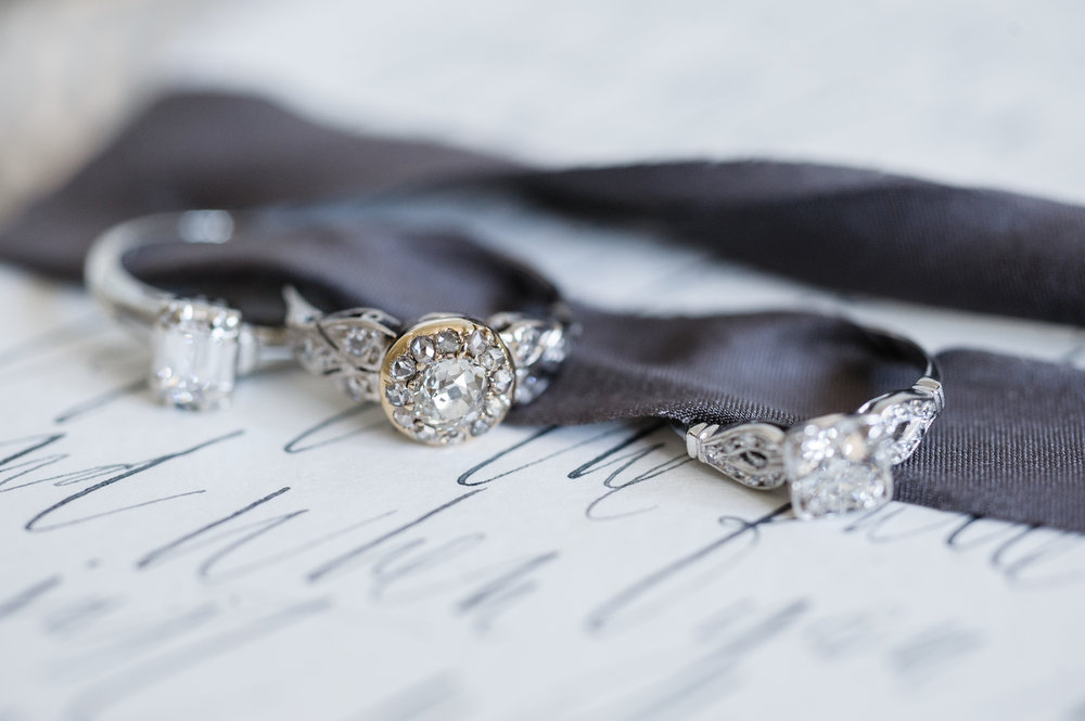Vintage Engagement Rings and Antique Engagement Rings In Two Tone with Old European Cut Diamonds and Old Mine Cut Diamonds